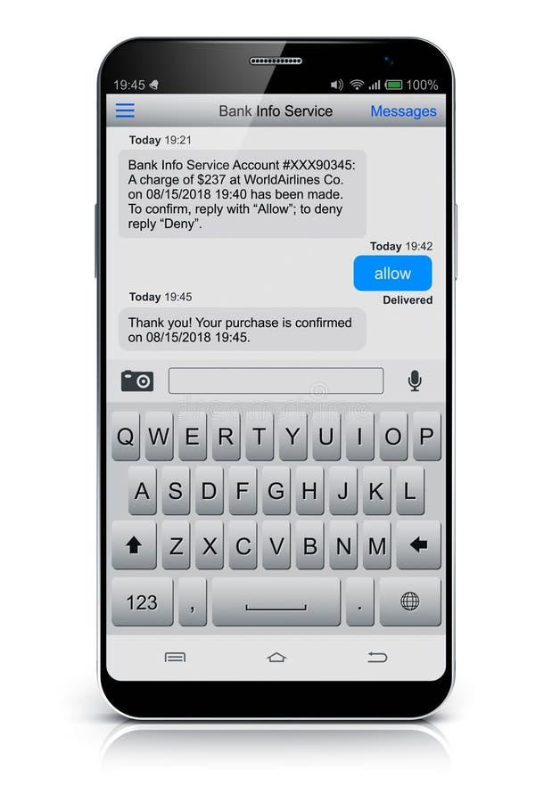 SMS wiadomość tekstowa app na smartphone ekranie royalty ilustracja