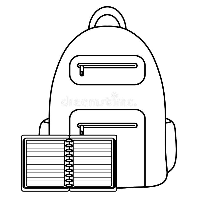 Smsa bokskola med skolväskan vektor illustrationer