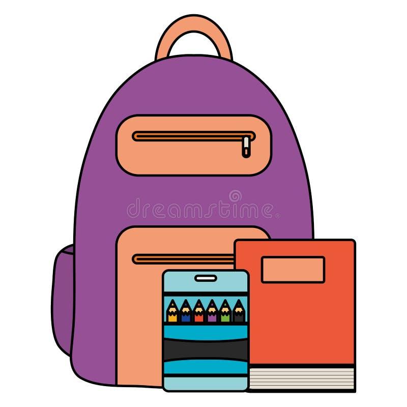 Smsa bokskola med skolväskan stock illustrationer