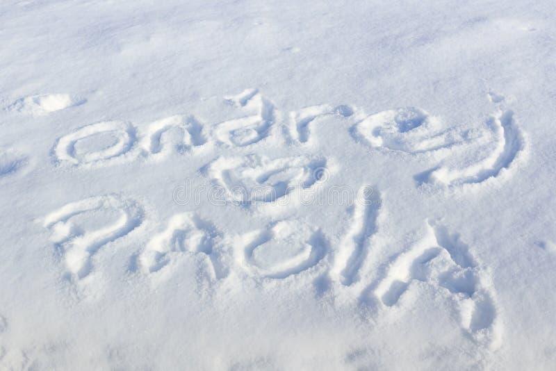 Smsa inskriften på snö på en solig vinterdag royaltyfri foto