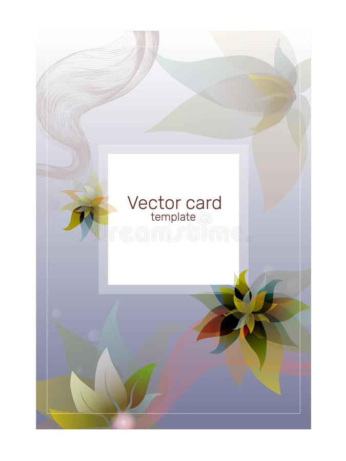 Smsa mallen, affisch med företags identitet Blom- lutningbakgrund för vektor i violetta signaler stock illustrationer