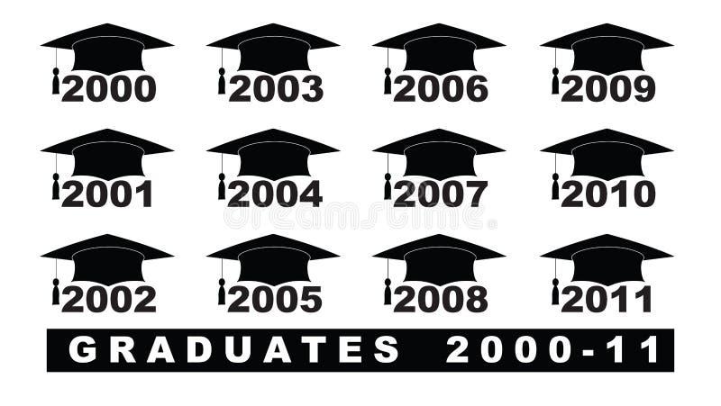 Smsa med uppsättningen för avläggande av examenhatt 2000-2011 på en vit illustration royaltyfri illustrationer