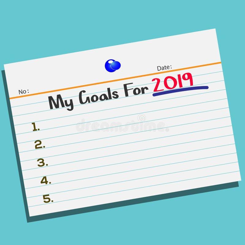 Smsa mina mål för 2019 på papper med den idérika designen för ditt hälsningskort vektor illustrationer