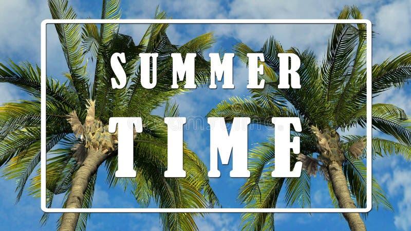 Smsa - sommar Tid - palmträd mot bakgrund för blå himmel royaltyfri illustrationer