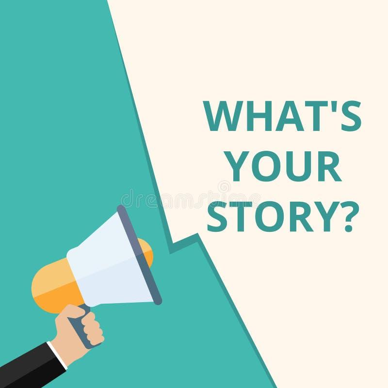 Smsa teckenvisningen vad \ 'S din berättelsefråga stock illustrationer