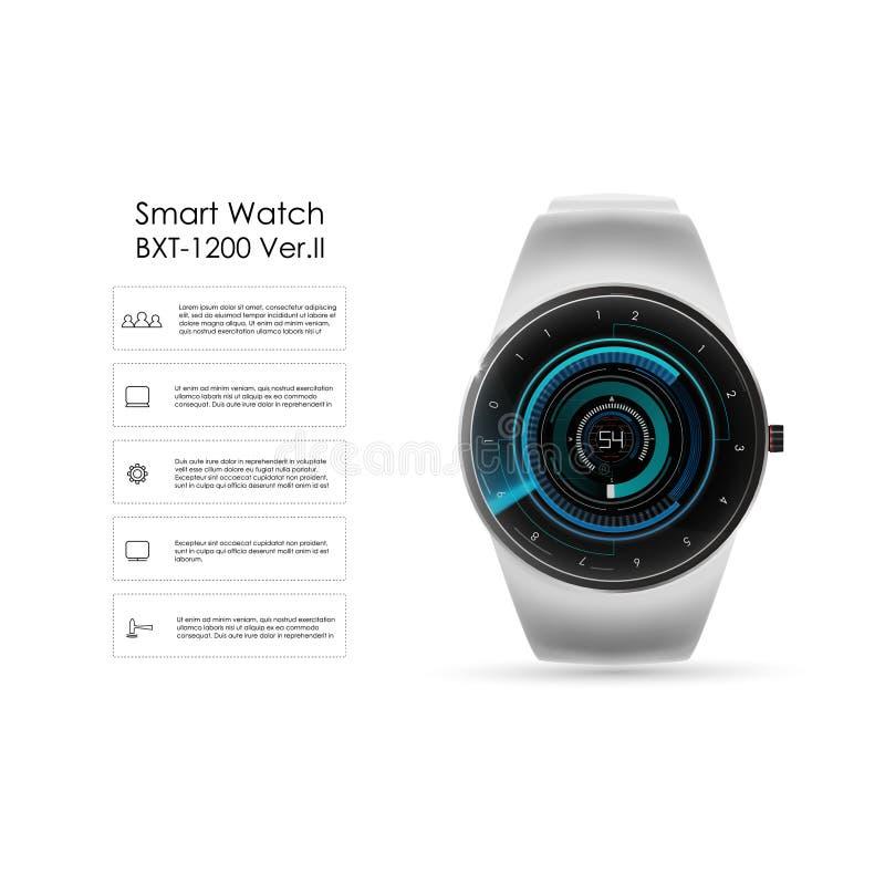 Smsar den realistiska illustrationen för vektorn av den smarta klockan för begreppet, teknologifunktioner och mallen Smart klocka vektor illustrationer
