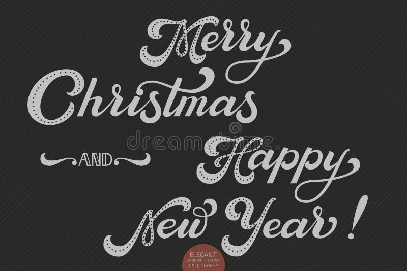 Smsar glad jul för vektor och det lyckliga nya året Calligraphic mall för bokstäverdesignkort Idérik typografigåva royaltyfri illustrationer