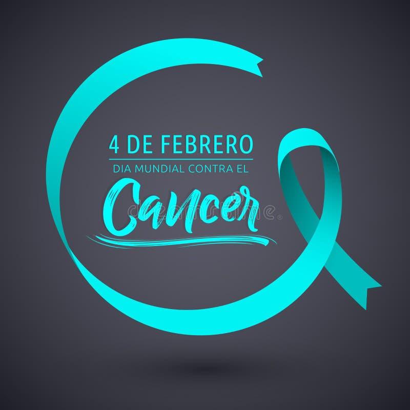 Smsar mundial contra el cancer 4 de Febrero, världsdag för diameter mot cancerfebruari 4 spanjor, det runda bandet stock illustrationer