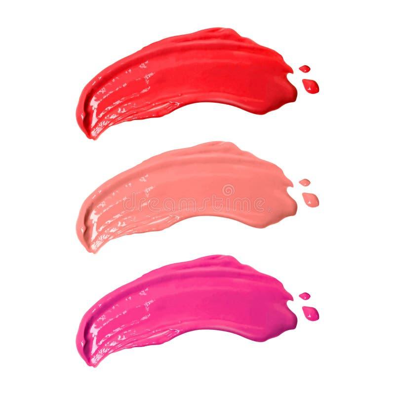 Smudge lippenstiften op witte achtergrond worden ge?soleerd die Make-uplippenstift Knippende weg stock afbeeldingen