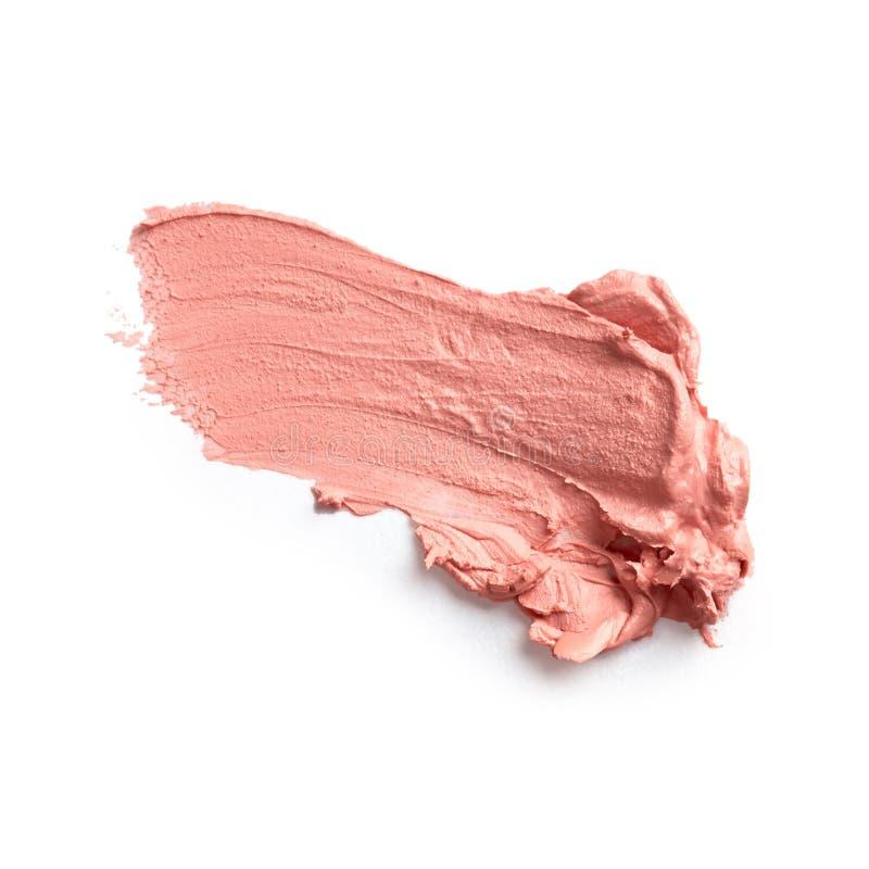 Smudged lipstick. Isolated on white background stock photo