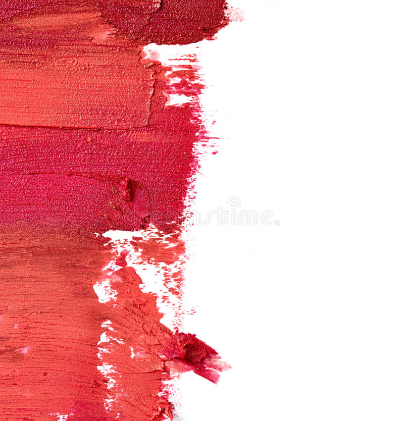 Smudged lipstick. Isolated on white background royalty free stock photo