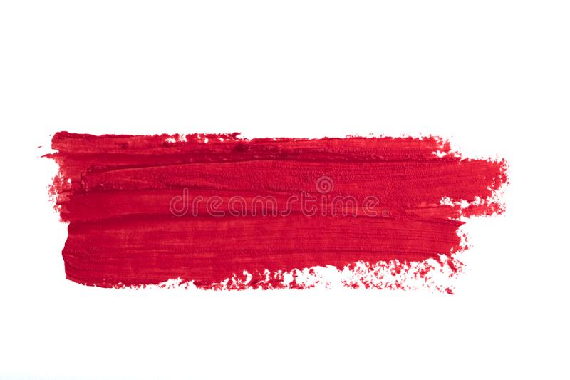 Smudged red lipstick isolated on white background.  royalty free stock images