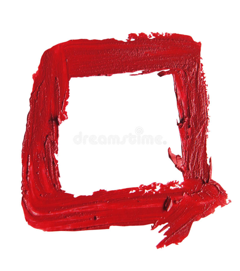 Smudged RED lipstick Square Shape on white background. Close up of a RED smudged lipstick on white background Square Shape royalty free stock image