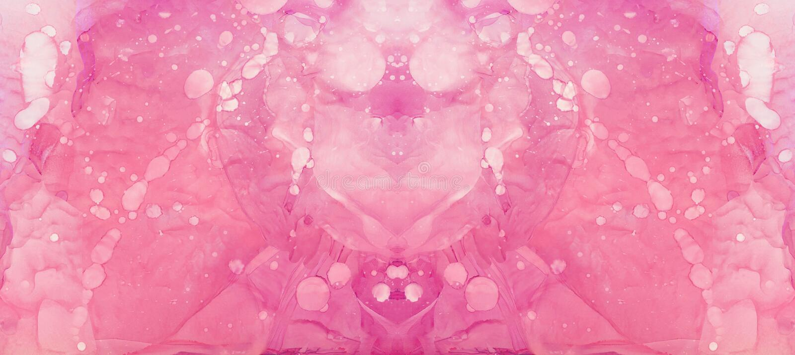Smudged soft light pink alcohol ink abstract background. Flow liquid watercolor paint splash texture effect illustration for cards. Smudged soft light pink royalty free stock photography