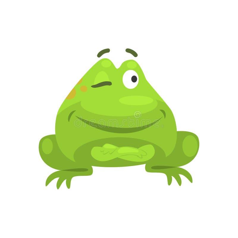 Smug Winking Green Frog Funny Character Childish Cartoon Illustration royalty free illustration