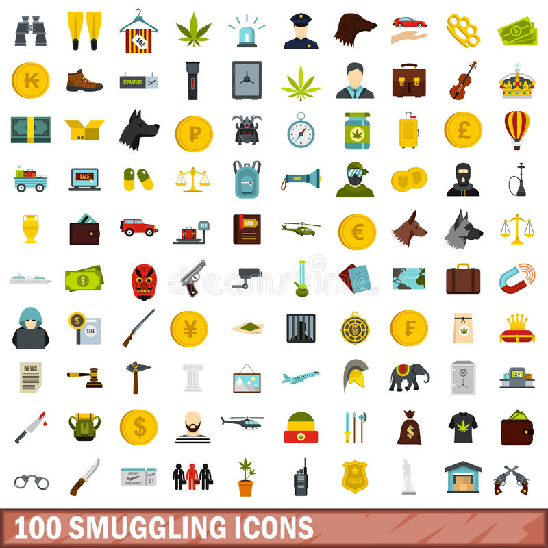 100 smuggling icons set, flat style royalty free illustration