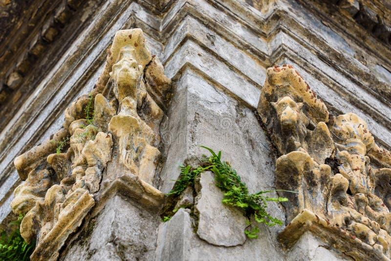 Smula mausoleumväggar med vattenkastare som skyddar det och ormbunkar som ut växer sprickor, som en texturerad bakgrund royaltyfria foton
