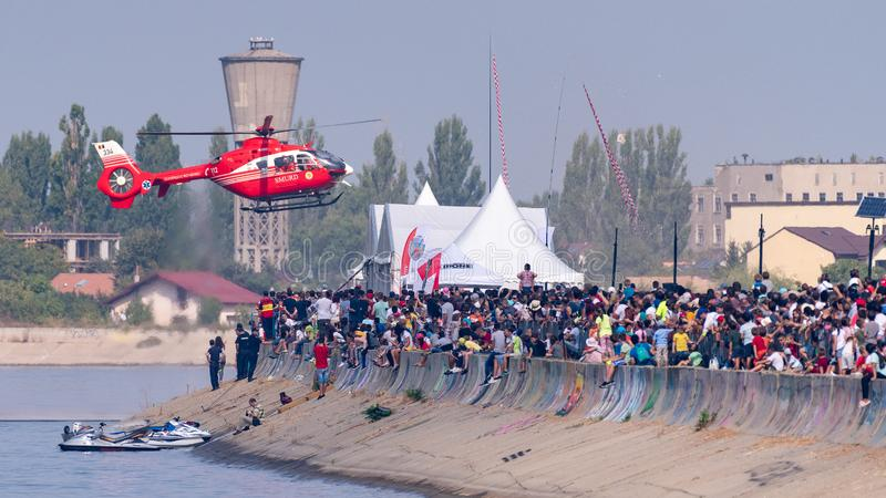 SMURD rescue helicopter air show in Bucharest. Romania royalty free stock images