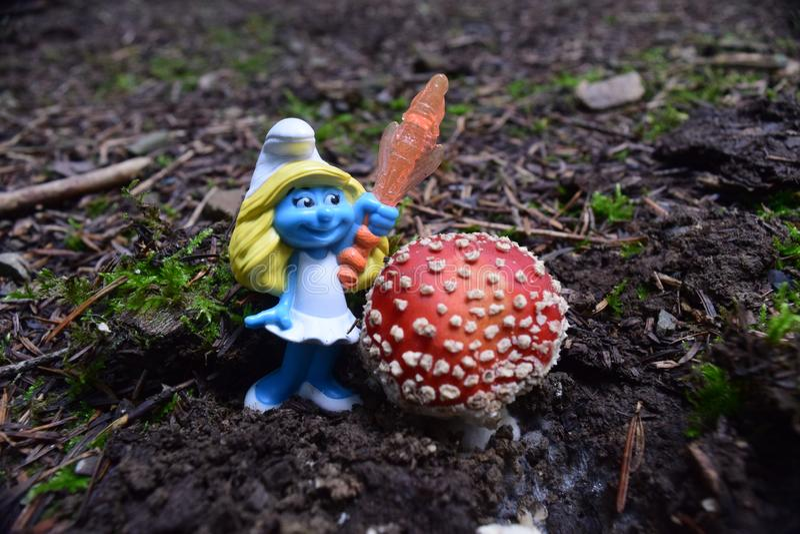 Smurf рядом с muscaria мухомора, обыкновенно известным как пластинчатый гриб мухы стоковые изображения rf