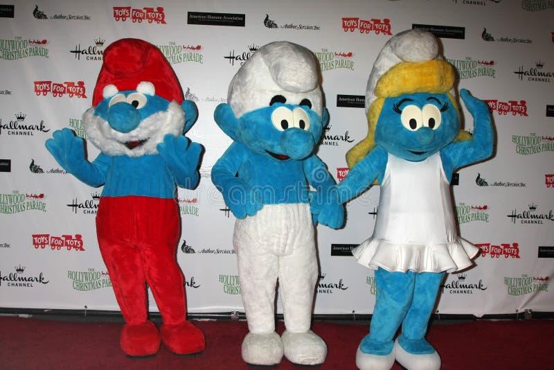 Smurfs komt bij de Parade van Kerstmis Hollywood van 2011 aan stock foto's