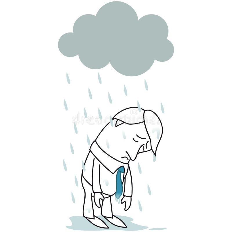 Smutna biznesmen pozycja w deszczu ilustracja wektor