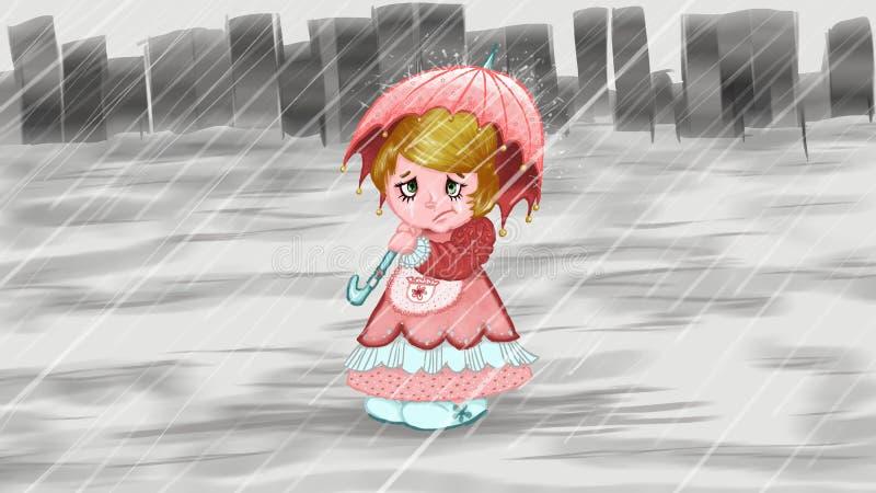 smutna dziewczyna royalty ilustracja