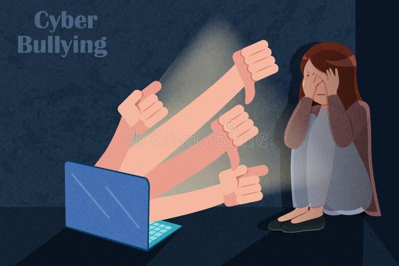 Smutna dziewczyna dostaje cyber znęcać się ilustracji