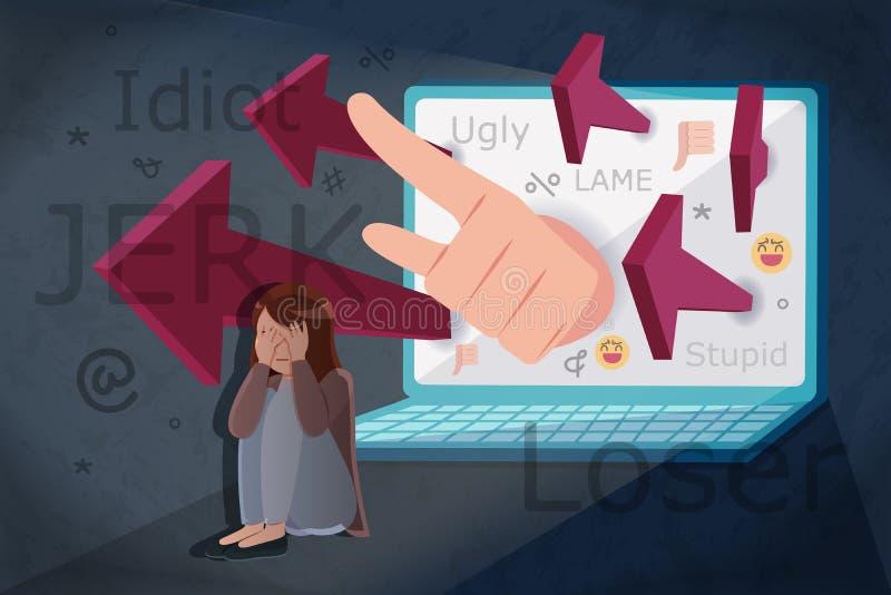 Smutna dziewczyna dostaje cyber zn?ca? si? ilustracja wektor