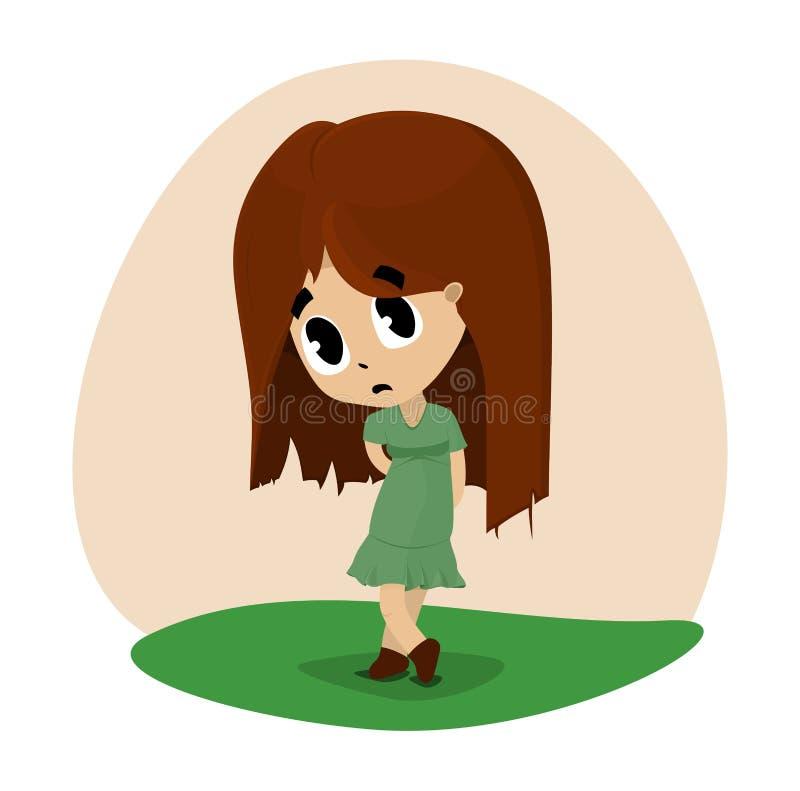 Smutna dziewczyna malował w chibi stylu w zieleni sukni obrazy stock
