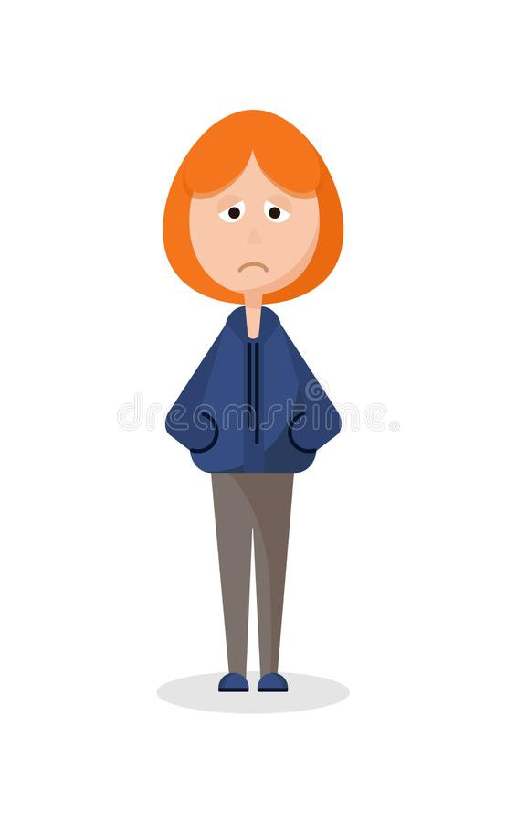 Smutna dziewczyna stoi samotnie ilustracja wektor