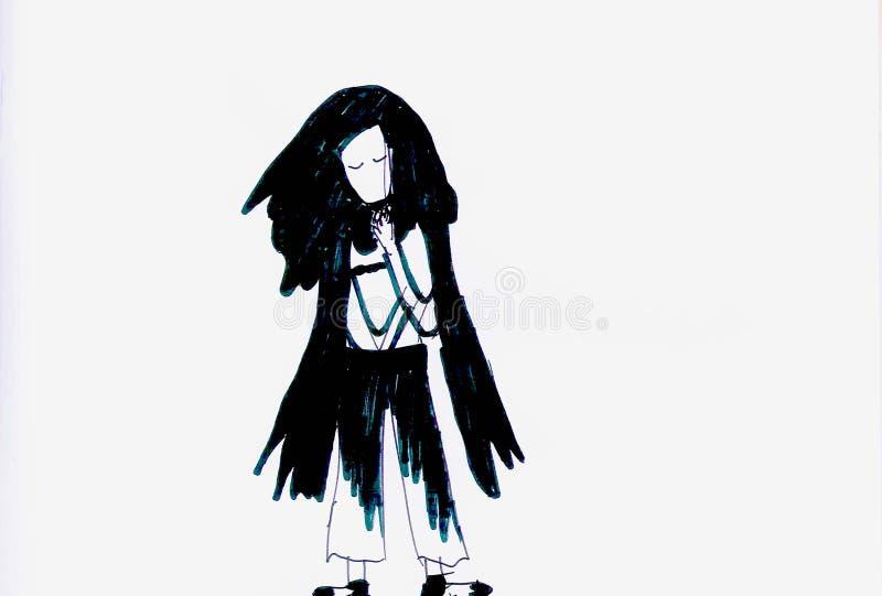 Smutna dziewczyna w Czarny I Biały ilustracji