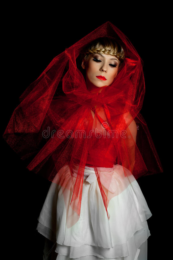 smutna dziewczyny czerwień zdjęcia stock