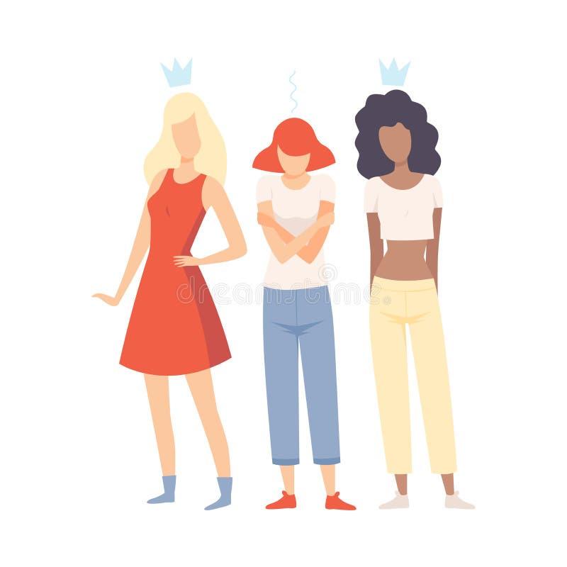 Smutna dziewczyny pozycja Między Jej kolegami z klasy, Niegrzeczne Nastoletnie dziewczyny Wyśmiewa Jej Wektorową ilustrację ilustracja wektor
