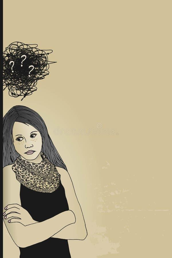 smutna kobieta ilustracja wektor