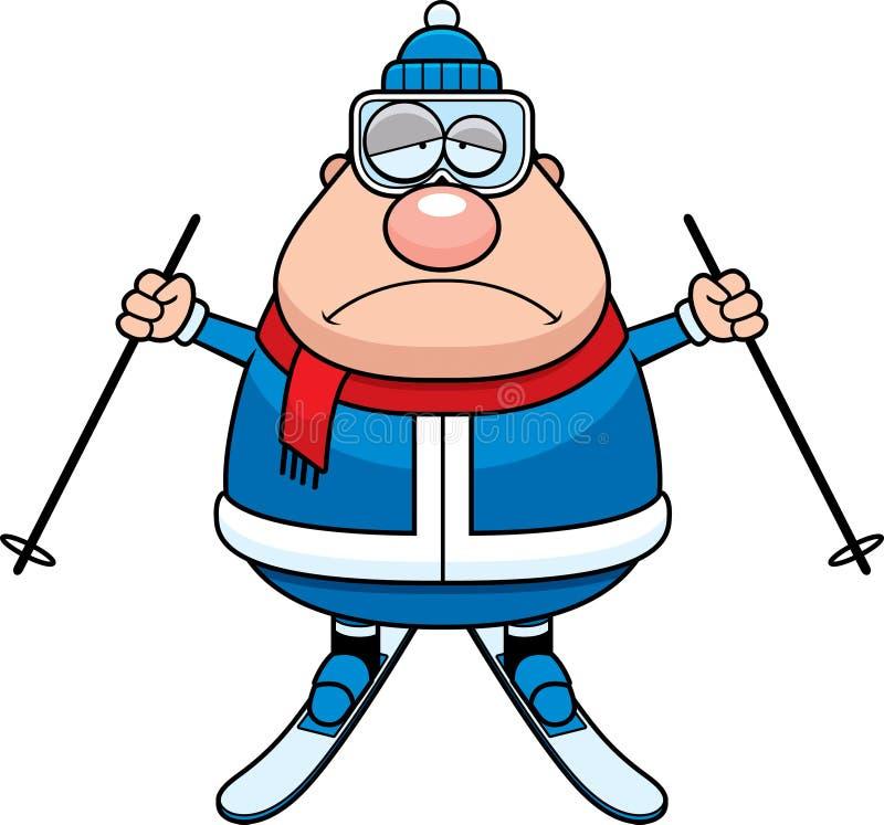 Smutna kreskówki narciarka royalty ilustracja