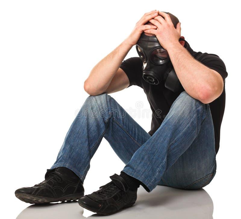 smutna mężczyzna benzynowa maska zdjęcie stock