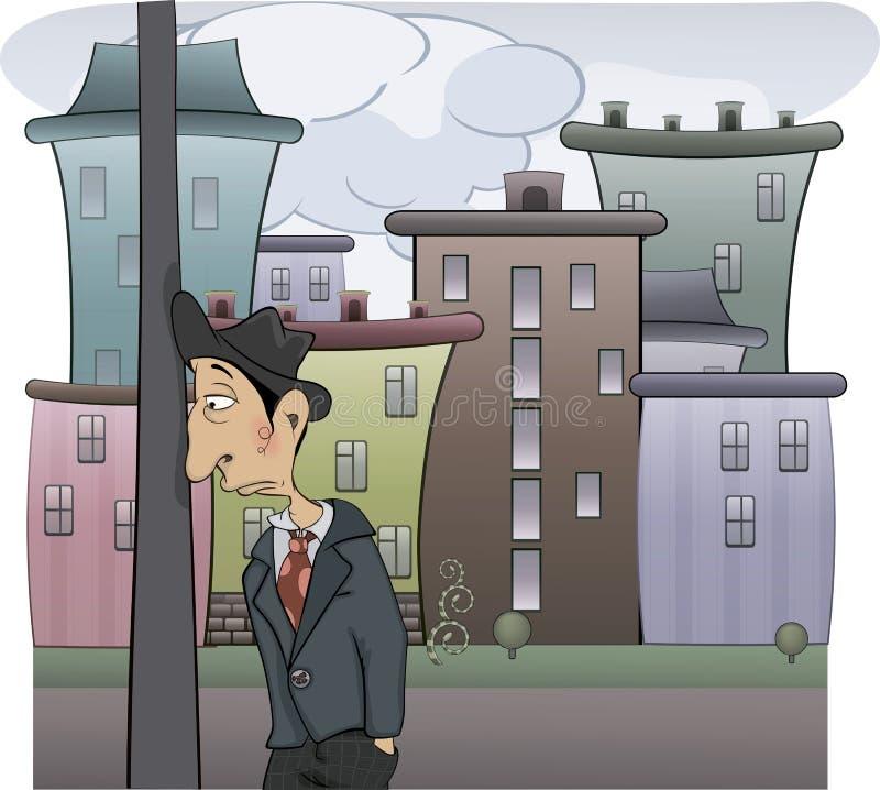 Smutna mężczyzna kreskówka ilustracja wektor