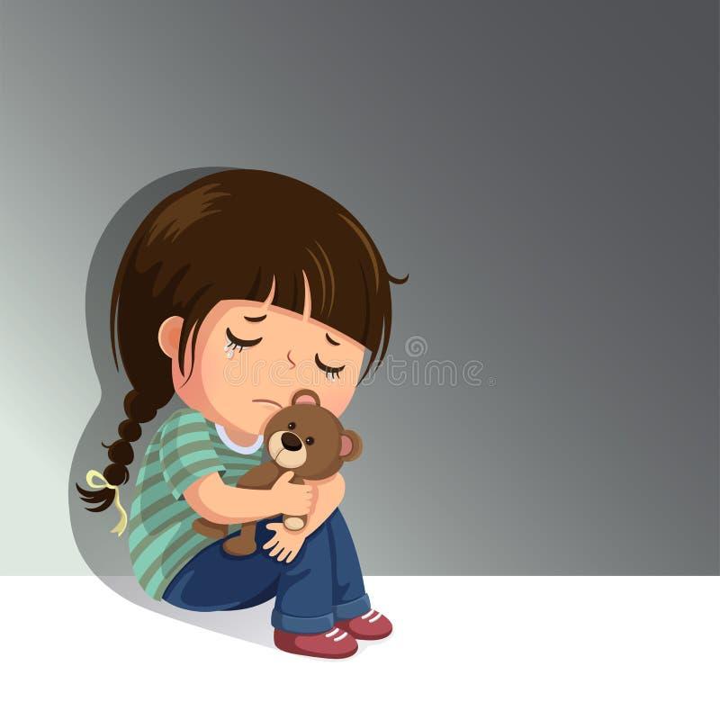 Smutna mała dziewczynka siedzi samotnie z jej misiem royalty ilustracja