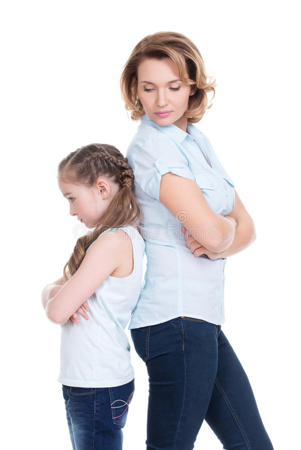 Smutna matka i córka ma problem zdjęcie royalty free