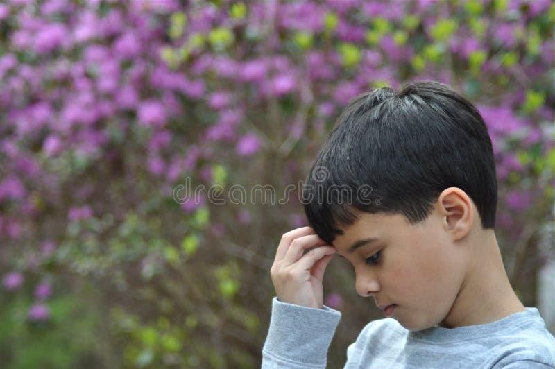 Smutna Ogrodowa Chłopiec zdjęcie stock