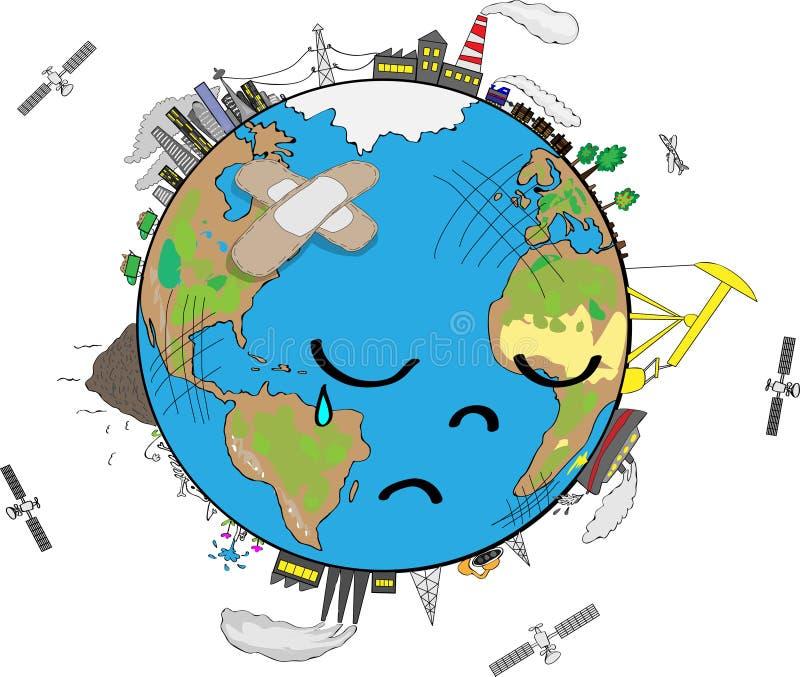 Smutna planety ziemia royalty ilustracja