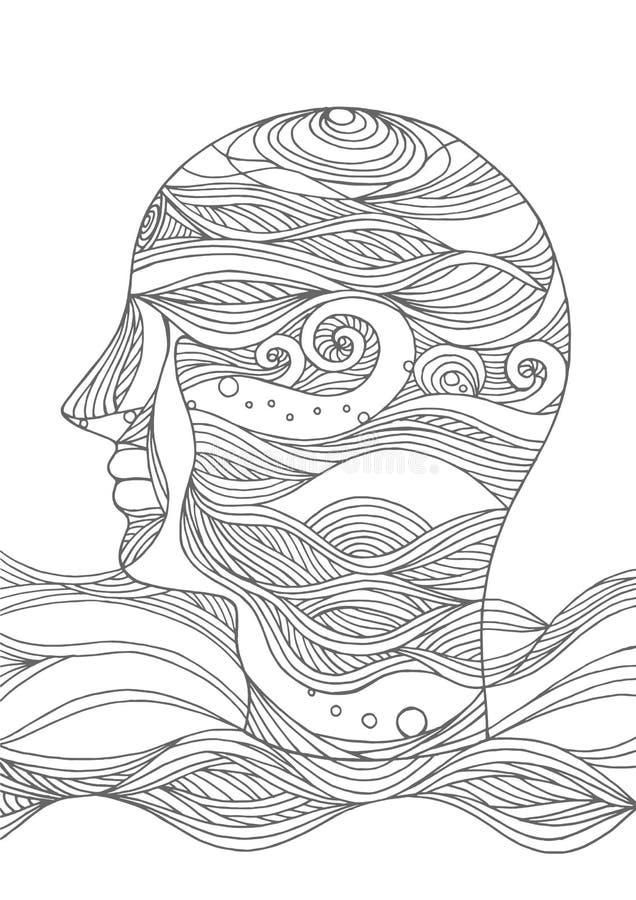 Smutna smucenie umysłu duszy świadomości ludzkiej głowy abstrakcjonistyczna wektorowa ręka rysująca royalty ilustracja
