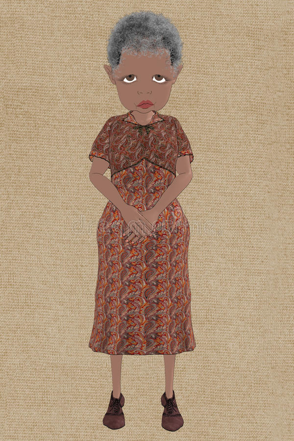 Smutna stara dama royalty ilustracja