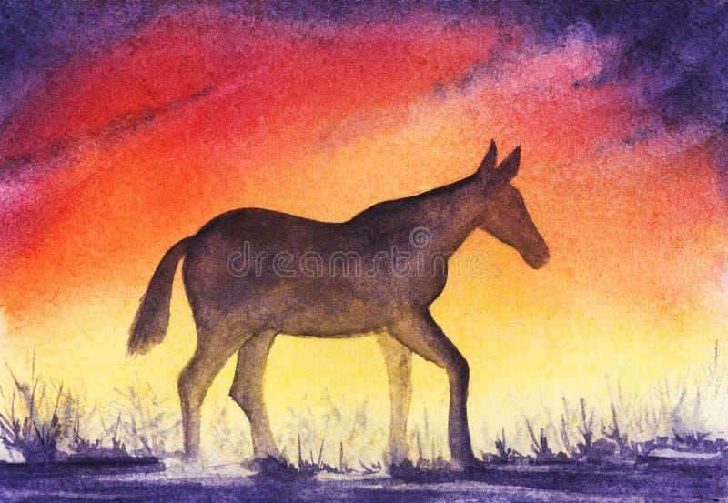 Smutna sylwetka osamotniona końska błąkanina przeciw tłu fiołkowy czerwony pomarańczowego koloru żółtego zmierzchu niebo z chmura royalty ilustracja