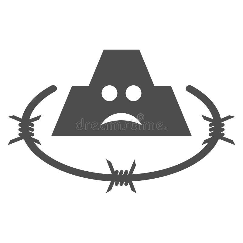 Smutna Więźniarska Płaska ikona royalty ilustracja
