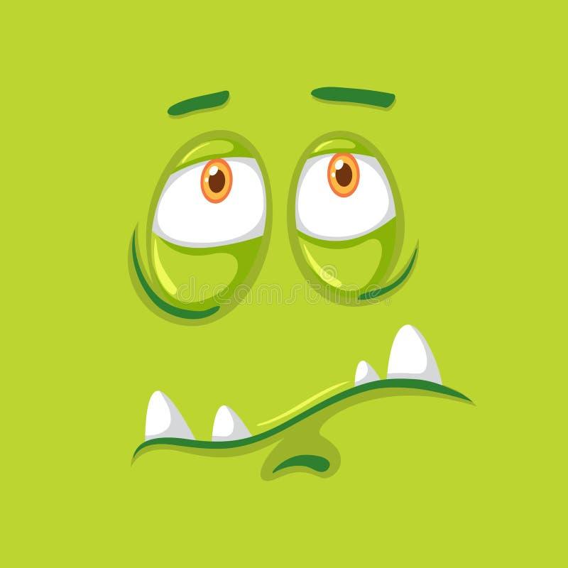 Smutna zielona potwór twarz ilustracji