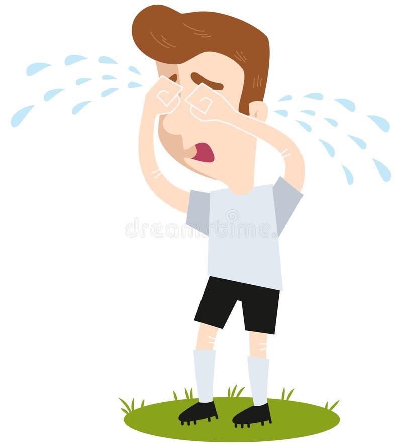 Smutnej kreskówki pola zewnętrzn futbolowy gracz płacze wiele łzy stoi na zieleni, śmieszna wektorowa ilustracja royalty ilustracja