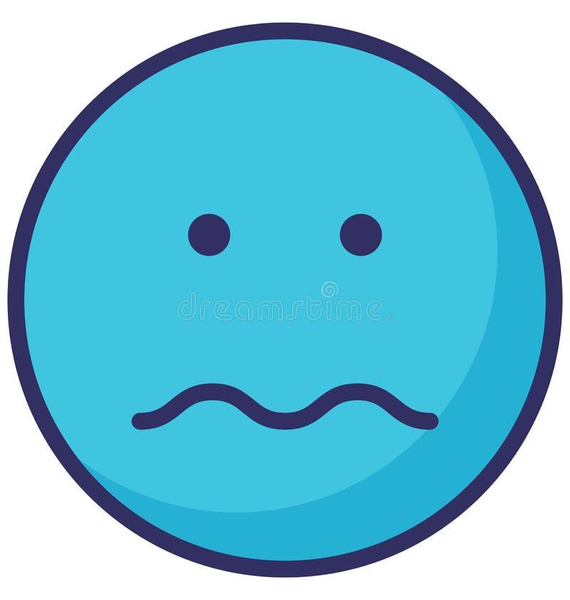 smutnej, smutnej twarzy Wektorowa Odosobniona ikona która może łatwo redagować lub modyfikować, royalty ilustracja