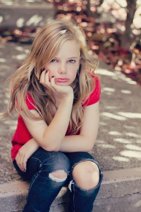smutni dziewczyn potomstwa zdjęcia royalty free