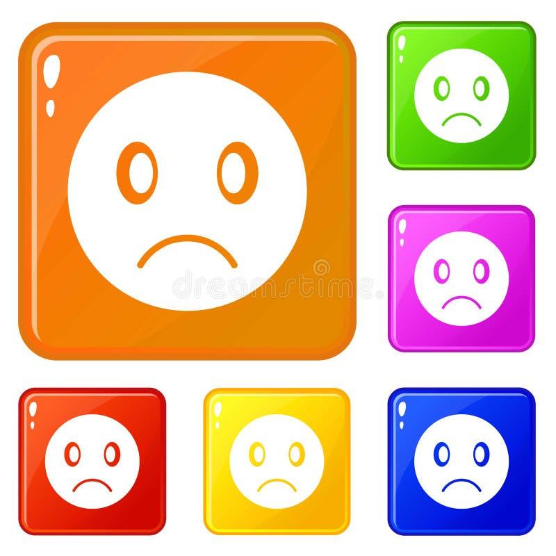 Smutni emoticons ustawiaj?cy wektorowy kolor royalty ilustracja